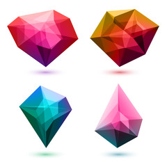 Colorful abstract crystals set. Vector illustration.