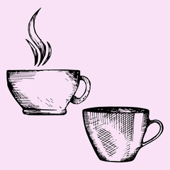 set coffee cup or tea cup, doodle style, sketch illustration
