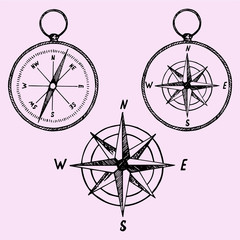 set of the compass, doodle style, sketch illustration, hand drawn, vector