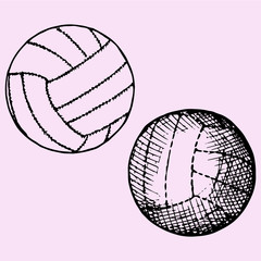 set of volleyball ball, doodle style, sketch illustration, hand drawn, vector