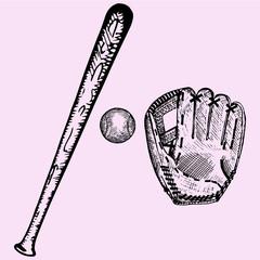 baseball bat, ball and glove, set, doodle style, sketch illustration, hand drawn, vector