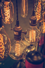 luxury edison light bulb in coffee shop