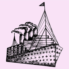 ship, steamboat, steamship, doodle style, sketch illustration, hand drawn, vector