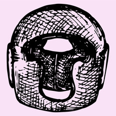 Boxing helmet, doodle style, sketch illustration, hand drawn, vector