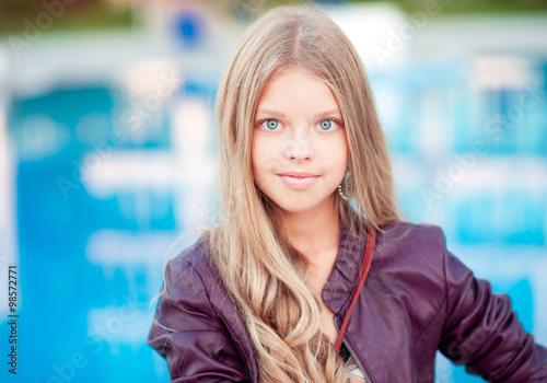 Smiling Blonde Teenager Girl 12 15 Year Old Posing Over