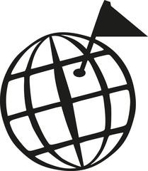 Geocaching world globe with goal flag
