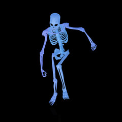 a rendered illustration of a glowing blue skeleton