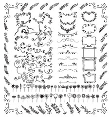 Doodles border and doodles flower