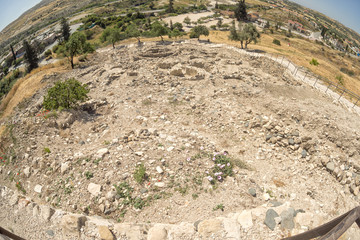 Choirokoitia (Khirokitia ) Neolithic Settlement of 7-4-th millennium B.C. fisheye top view. World Heritage Site by UNESCO. Cyprus.