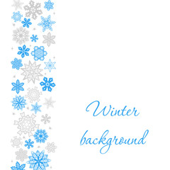 Christmas white square background with snowflakes to the left border