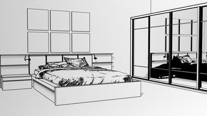 Interior decoration of bedroom with cketch bed, night stand and picture frame on the brick wall with wooden floor. Copy space image. 3d render