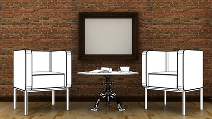 Interior decoration with arm chair, lamp, vase, table and picture frame on the brick wall with wooden floor. Copy space image. 3d render