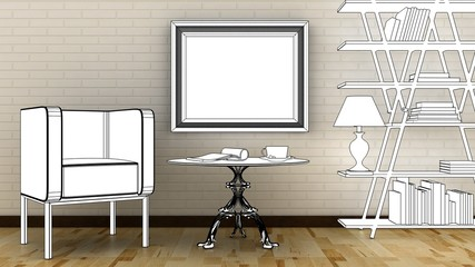 Interior decoration with arm chair, lamp, vase, library, table and picture frame on the brick wall with wooden floor. Copy space image. 3d render