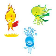 Fire, water & wind mascot