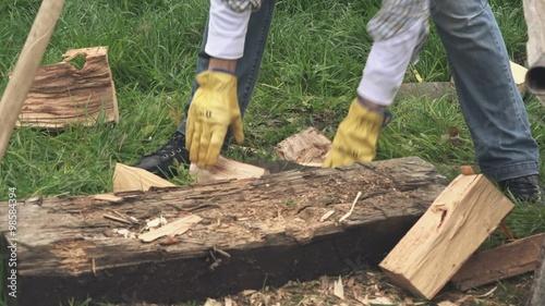 lumberjack loading wood logs to wheelbarrow in backyard