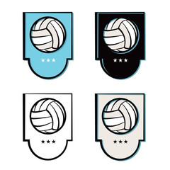 Volleyball Emblem Icons Set