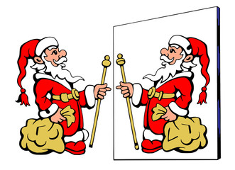 Santa Claus looking at the wrong mirror - Find  ten differences