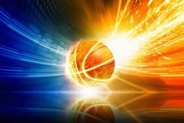 Burning basketball