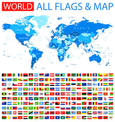 All Flags and World Map. Blue. Vector Collection of World Flags and Map.