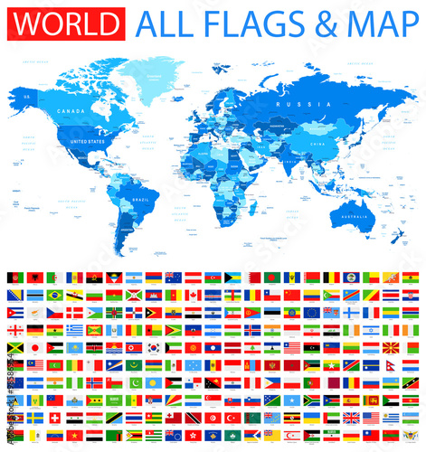 Map Of World Flags.All Flags And World Map Blue Vector Collection Of World Flags And