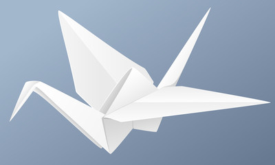 Vector illustration of a folded paper crane against a blue background.