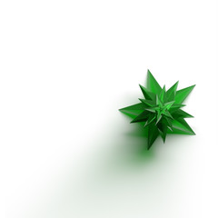 Render of emerald Christmas Tree on a white background from the top view.