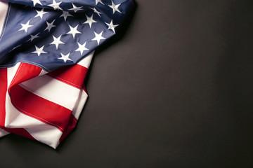 American flag on dark background