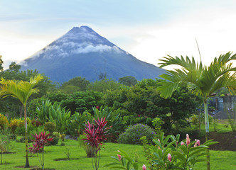 Arenal Volcano in wispy clouds