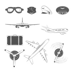 Aircraft Labels Set. Vector Illustration