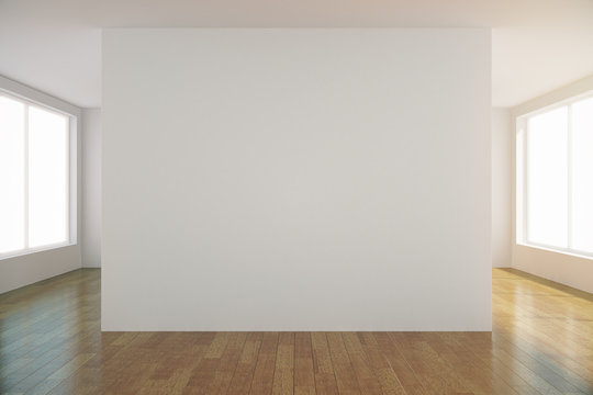 Empty light room with blank white wall in the center, mock up