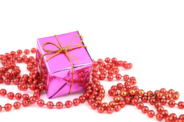 Pink gift box and ornaments isolate on white background