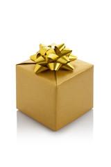 gold gift box on white background