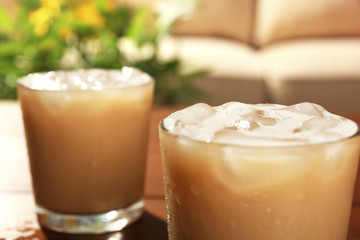 Cups of ice coffee, close-up