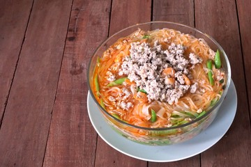 Thai spicy Tom Yum noodle with pork