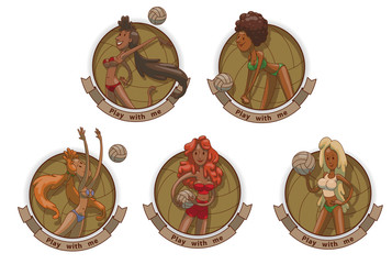 Vector image of five round emblems with banners and with cartoon image of different volleyball players girls in bikini with the balls in various poses in the center on a light background.