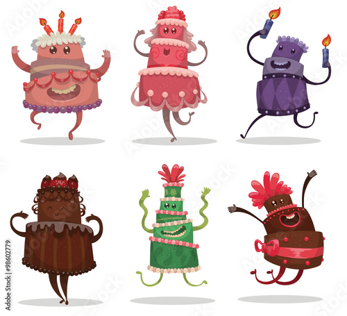 Vector Set Of Happy Birthday Cakes Cartoon Images Funny Different