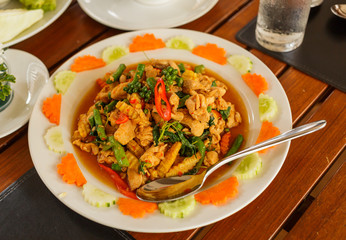 Fried chilly paste with fish and herb ,thai food