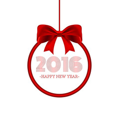 Round banner with lettering 2016 Happy new year and red bow