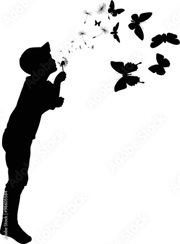 Child Silhouette Blowing On Black Dandelion Stock Image And Royalty
