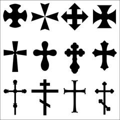 Black Silhouettes of crosses: Catholic, Christian, Celtic, pagan