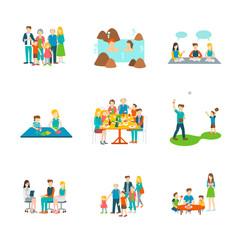set 9 of bigfamily ,onsen,learning,origami maker,bigfamily dinner,bestball,meey doctor,eating doughnut