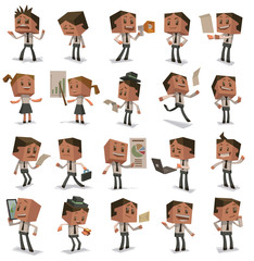 Vector Set of Cube business people. Set of cartoon image of colored cube business people with different actions and emotions on a white background.