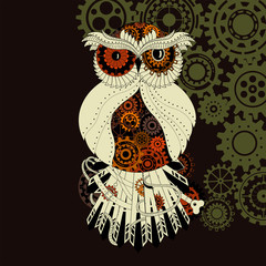 Steampunk outline vector owl with gear. Metallic steam punk owl