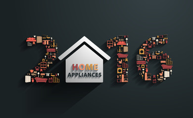 2016 new year with flat design concepts home appliances icons