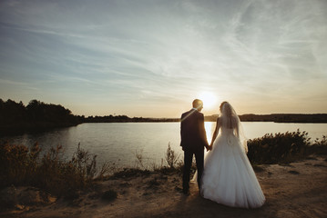 gorgeous stylish happy blonde bride and  elegant groom  looking at sunset