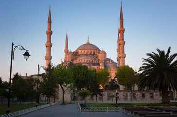 Blue Mosque in Istanbul early in the morning before sunrise, Turkey