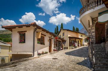 Old street of Bar touristic town center, Montenegro