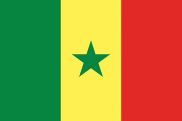 Senegal flag illustration of african country