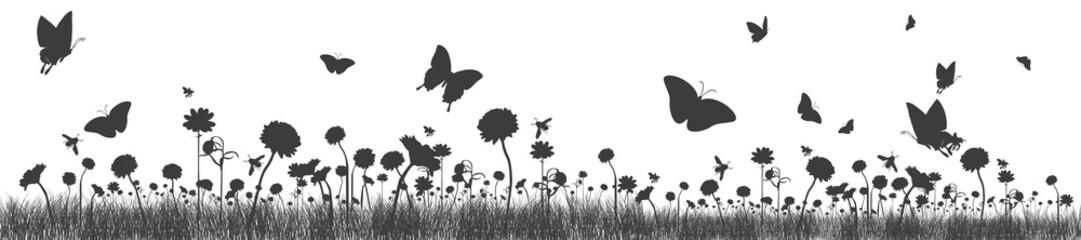 Blumenwiese mit Bienen und Schmetterlingen | Banner