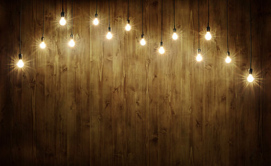 Light bulbs on wood Wall mural